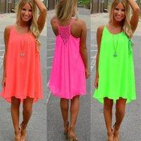 Women Sexy Loose Spaghetti Strap Dress Beach BOHO Dress Summer Bright Color Sleeveless Chiffon Mini Dress Women Clothing Plus Size S-5XL_yw_xj