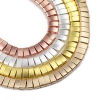 Andere jhnby matte zwei loch gold silberr 5x2.5mm rechteck hämatit naturstein spacer lose perlen für schmuck machen diy armbänder