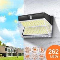 Solar Lamps 132 262 LED Light Outdoor Powered Waterproof PIR Motion Sensor Street Super Bright Courtyard Garden Wall Lamp