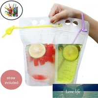 50PCS Disposable 500ml Juice Coffee Liquid Bag Vertical Zipper Seal Drink Bag Drink Pouches With Straw Party Household Storage1 Factory price expert design Quality