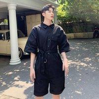 Erkek pantolon yaz tasarımcı takım tulum şort gelgit marka Kore versiyonu gevşek bf rüzgar bel beş sahne kostümleri