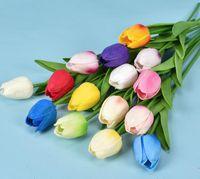15 colori PU Fiore artificiale Tulipano Bouquet 34 cm / 13.4 pollici Mini Real Touch Flowers Decorazione del partito di casa GC326