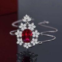 HBP Mode Luxus Schmuck Neue 925 Sterling Silber Anhänger Weibliche Nachahmung Rot 12 * 16 Blume Halskette