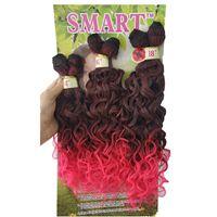 Weaves 2021 DHGAT 고품질 6pcs / lot 합성 직조 머리카락 확장 Jerry Curly Ombre Brown Kanekalon Deep Curly Balk Braiding Hair