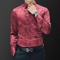 Camisas de vestido masculino Plus size 5xl 2021 Luxo camisa de manga comprida de seda smoking homens mercerizados algodão
