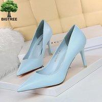 Bigtree neuf 7,5 cm de hauts talons minces femmes pompes pointues orteil chaussures de mariée de mariée peu profonde femmes sexy femmes chaussures nues talons hauts