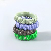 Candy Color Dripping oil Rhinestone Ring for Women Multicolor Geometric Round Ring Hand Painted Fashion Jewelry