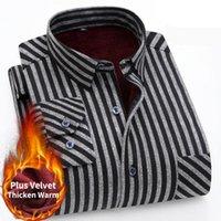 Men's Casual Shirts 2021 Winter Flannel Warm Plus Velvet Thickening Fashion Striped Long Sleeve Brand Business Dress Shirt