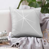 Cushion Decorative Pillow Silver Gray Print Striped Case Cushion Cover Peach Skin Pillowcase Home Throw Pillows Bedroom Decorative 45*45cm