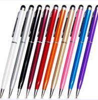 Wysokiej Jakości 2 w 1 Stylus Kolorowe Kryształ Pojemnościowy Dotykowy Pen Mini Baseball Screft Screen Pen Wskazówka Pióro Pióro Telefon N