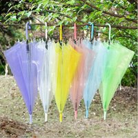 Umbrellas Clear Transparent Rain Umbrella PVC Dome Bubble Sun Shade Wedding Party Long Handle Straight Stick
