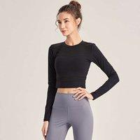 Eşofmanlar Üst Spor Kadın Yoga Uzun Kollu Ince Hızlı Tayt Kuru T-shirt Koşu Açık Göbek Sıkmak Fitness Suit