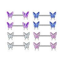 Nipple en acier inoxydable Piercing Butterfly Barbell Bouclier Charmante Anneaux De Charmante Bijoux Piercing Corps