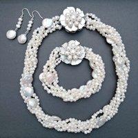 ナゲットバロック様淡水真珠の五番手ねじれネックレスブレスレットイヤリングホワイトパールジュエリーセット女性ジュエリー