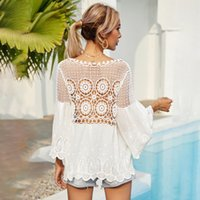 Flounces for Women Tees Summer 2021 Korean White Medium - Long V-neck Lace Buff Sleeves