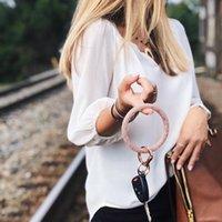 Keychains Silicone Key Bracelet Glitter Fitness Keyring Wristlet Keychain Bangle Large Circle Holder For Men Women