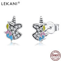 Lekani Unicorn 925 스털링 실버 스터드 귀걸이 5A 여성을위한 클리어 큐빅 지르코니아 소녀 기념일 고급 보석 210701
