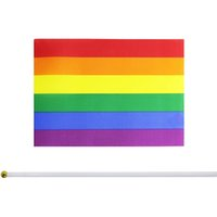 N ° 8 rayé rose gay Rainbow drapeau LGBT 14 * 21 IMPRESSION IMPRESSION DE MÊME SEX PRIDE PELIER PE PLASTIQUE PADPOLE Drapeaux GWA6323