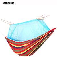 Hammocks Outdoor Picnic Garden Hammock Hang Bed Portable Travel Camping Swing Canvas Stripe Mosquito Net Furniture