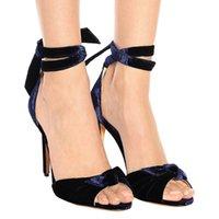 Qualitätsmode Sandalen Peep Toes Gladiator Bowtie Strap Samt Stiletto Ferse Chic Sandalen High Heels Frauen Party Schuhe Für Damen