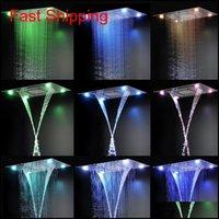 Set doccia moderna Desigh 600 * 800mm Telecomando Colore Cambiamento LED Incorpora soffizione soffione doccia SE Qylphq Bdenot