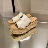 2021 Kadın Platformu Sliddes Tasarımcı Terlik Woody Kama Katırında Tuval Çapraz Sapanlar Ayakkabı Düz Espadrille Yaz Plaj Yüksek Topuklu Kutusu 292