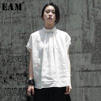 Рубашки женских блузков [EAM] Женщины белое белье задняя кнопка большие размеры блузка SATND воротник с коротким рукавом свободная рубашка мода весна лето 202