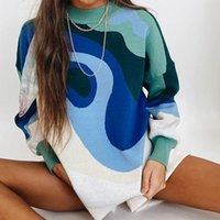 Suéteres de mujer Estilo Preppy Punto Mujer Suéter Sweater Spring Otoño Diseño Azul Blanco Impreso Suave Soft Tops Lady Manga Larga
