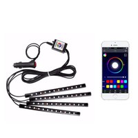 Car Atmosphere Strips Lights Foot Lighting USB LED Cars Foots Light Lighter Remote Control Interior Decorative Ambient LEDs Lamp Strip Accessories CRESTECH168