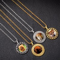 Custom Photos Necklace Fashion Gold Plated Circle Memory Pendant Necklaces Mens Hip Hop Jewelry 1256 B3