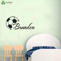 벽 스티커 사용자 정의 멋진 축구 소년 이름 벽화 개성 포스터 홈 인테리어 QQ140