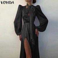 Casual Dresses Frauen Elegantes olkleid Hohe Taille Puff Sleeve Party Hemd 2021 Vonda Sommer Sommerkleid Bohemian Vestido