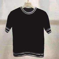 여성 T 셔츠 니트 양모 티즈 탑스 레이디 슬림 피트 짧은 스타일 셔츠와 활 applique 목 tshirts kint 크기 s-xl