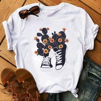 Neue Mode Frauen T-shirt Cartoon Kaktus Und Schuhe Gedruckt Tops T Shirt Harajuku T-shirt Nette T-Stück Weibliche Grafik T-shirts Kleidung FEM