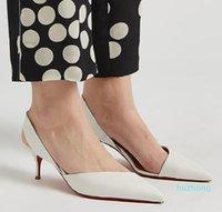 2021 Luxurys Chaussures Femmes Sexe Rouge Semelles Low Talons Pompes Mariage Chaussure De Mariage Robe Sandales Style Fashion Style Modé -Toe Blanc, Noir