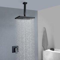 Conjuntos de ducha de baño Negro Cuadrado Lluvia Big Panel Cabeza de latón mezclador incorporado Muro de pared montado en la pared Set de grifo de lluvia