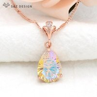 Pendant Necklaces S&Z DESIGN 2021 Europe America Temperament Luxury Water Drop Crystal Necklace For Women Girl Wedding Party Jewelry