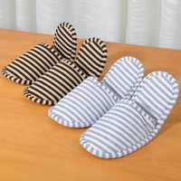 Toiletry Kits 1 Pair Striped Slippers Travel Airplane Portable Foldable Cotton Cloth Men Women Slipper Accessories