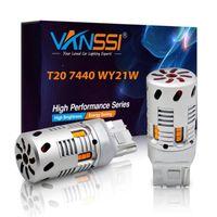 Аварийные огни T20 7440 7440NA WY21W Автомобильный светодиодный поворот сигнал лампочки лампочки без гипер вспышки желтый 1156 BA15S P21W 7507 BAU15S PY21W ошибка