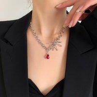 Кулон Ожерелья KPOP стиль паук декор красный водяной круг Ожерелье для женщин Корейский модный серебряный цвет цепи Choker модные ювелирные изделия MS382