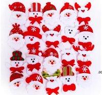 Christmas Gift LED Glowing Santa Snowman Deer Bear Glow Flashing Cartoon Brooch Badge Toy Christmas Luminous Decoration CCB9112
