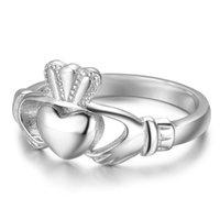 Anneaux de mariage Ring Irish Claddagh Bague 925 Silver Pour Femmes Promise Mains Heart Couronne Irlande Style Classic Design Bijoux romantiques