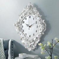 ساعات الحائط الأوروبية ملاك ساعة الراتنج روز زهرة والساعات الكلاسيكية ل نمط غرفة المعيشة نوم كتم كيوبيد هدية