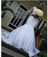 African Sirena Abiti da sposa Abiti di pizzo Appliques Plus Size Abito da sposa Illusione maniche lunghe Abiti da sposa Vestidos de Novia