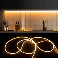 Tira de la luz de la luz de la luz de neón de la escalera 5 M 3M 2M 1M LEDRIPS TOCK CONTROL DE CONTROL LED Lámpara de la cocina del gabinete de la luz de fondo 220V a 12V