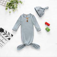 Bolso para dormir infantil Bebé recién nacido Swaddle Manta Sombrero 2 PCS Wrap Wrap Tronco de algodón Historieta Durmiente Papelos Fotografía PROP OWB5238