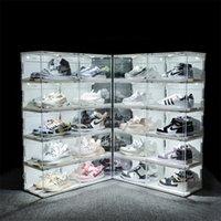 Ses Kontrol LED Işık Ayakkabı Kutusu Sneakers Saklama Kutusu Anti-Oksidasyon Organizatör Ayakkabı Duvar Akrilik Ayakkabı Koleksiyonu Ekran Rafı 210315