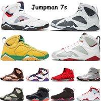 Air Retro 7 حار بيع Jumpman 7 7S السابع أحذية الرجال لكرة السلة باتا X الحريرالأردنالرجعية ولاية أوريغون البط المصلح المدربين الرياضية حذاء رياضة حجم يورو 12