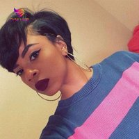 Lace Wigs Human Hair Pixie Cut Straight Bob Wig Remy Short For Women Part With Bang