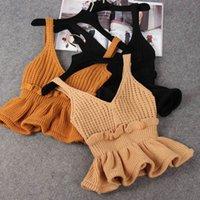 Femmes tricotés côtelées côtelées côtelées vesticules top coucc col en v camis tunique sans dos dossier togs féminin tôt automne sexy camisole femmes 210306